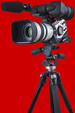 video camera on red background