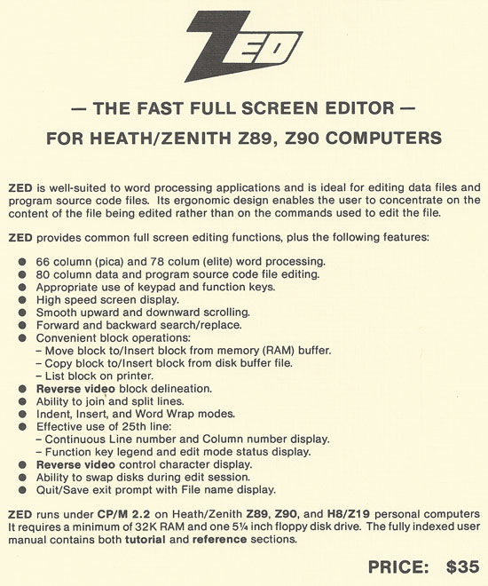 ZED software cover page